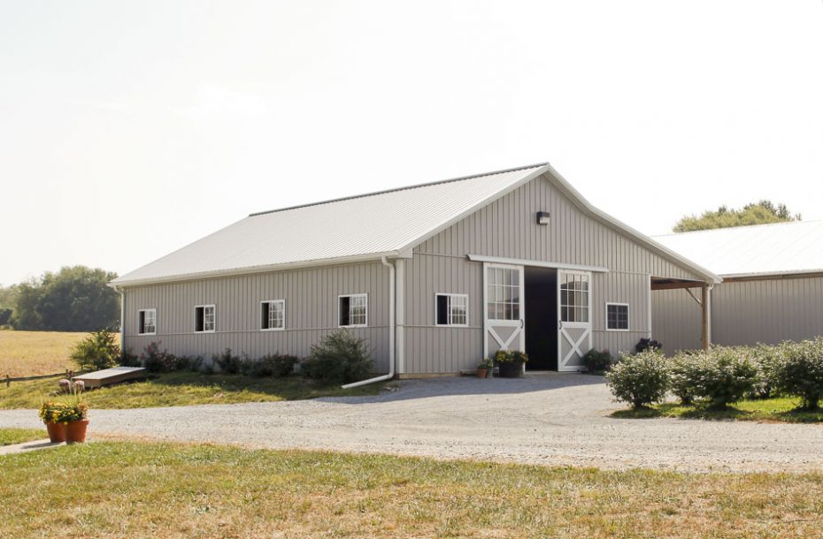 Pole Barn Type Horse Built With Metal Roof And Siding